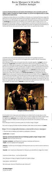 Rocio Marquez le 16 juillet au Théâtre Antique | Tout Pour Les