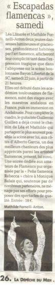 Article Dépêche Comminges du 20 juin 2019 pour Escapadas flamencas
