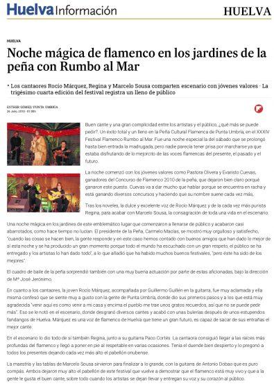 Noche mágica de flamenco en los jardines de la peña con Rumbo al Mar